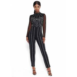 Bebe Women's Sequin Detailed Jumpsuit, Size 12 in Black Viscose