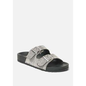 Bebe Women's Avonlea Double Buckle Sandal, Size 6 in Black Synthetic