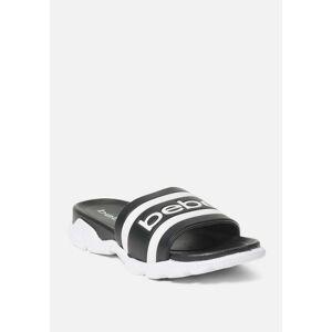 Bebe Women's Norinne Sporty Slides Shoe, Size 6 in BLACK Synthetic