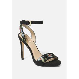 Bebe Women's Ingram Embroidery Heels Shoe, Size 10.5 in Black Synthetic
