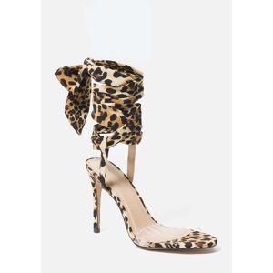 Bebe Women's Bressy Ankle Wrap Heels Shoe, Size 11 in LEOPARD FABRIC Synthetic