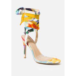 Bebe Women's Bressy Ankle Wrap Heels Shoe, Size 7.5 Synthetic