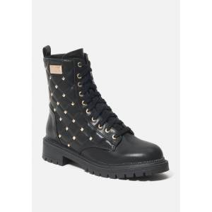 Bebe Women's Dorienne B Quilted Combat Boots, Size 7 in BLACK FAUX Synthetic