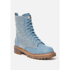 Bebe Women's Dorienne Lace Combat Boots, Size 11 in Denim Synthetic
