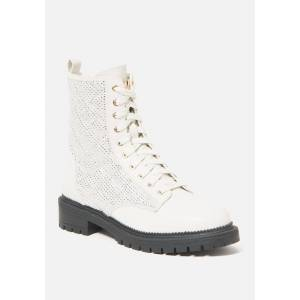 Bebe Women's Dorienne Lace Combat Boots, Size 8.5 in Off White Synthetic