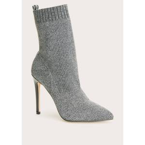 Bebe Women's Discover Sock Ankle Boots, Size 7 in Silver Synthetic
