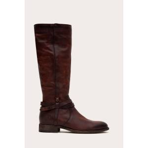 The Frye Company Melissa Belted Tall Wide Calf - Redwood - Size: 7-5