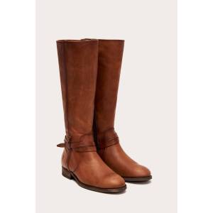 The Frye Company Melissa Belted Tall Wide Calf - Light Cognac - Size: 7