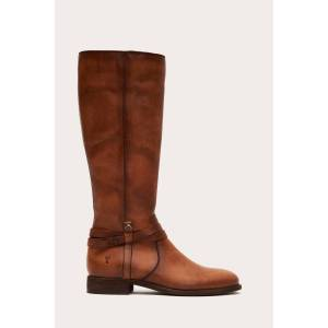 The Frye Company Melissa Belted Tall Wide Calf - Light Cognac - Size: 7-5