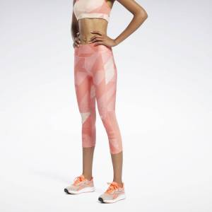 Reebok Women's Run Essentials Allover Print 3/4 Leggings in Twisted Coral Size 2XS - Running Apparel