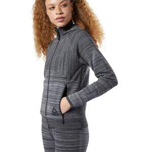 Reebok Women's Knit Control Hoodie in Dark Grey Heather Size L - Training Apparel