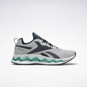 Reebok Unisex Zig Elusion Energy Shoes in Pure Grey 2/Vector Navy/Court Green Size M 9 / W 10.5 - Lifestyle Shoes