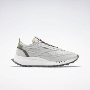 Reebok Unisex Classic Leather Legacy Shoes in Pure Grey 2/True Grey 7/Harmony Green Size M 12 / W 13.5 - Lifestyle Shoes
