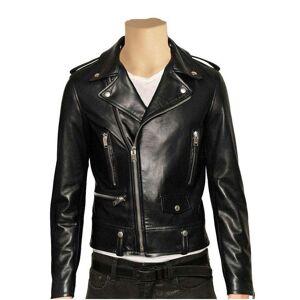 LussoLeather Classic biker style jacket with epauletts
