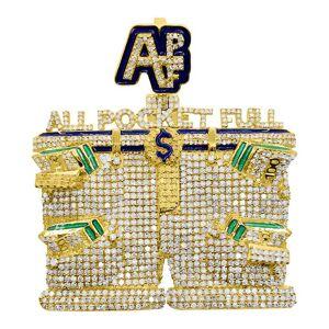 HipHopBling APL All Pockets Full Diamond Pendant 3.25cttw 10K Yellow Gold