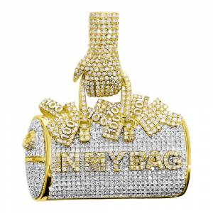 HipHopBling Money in My Bag Diamond Pendant 2.65cttw 10K Yellow Gold