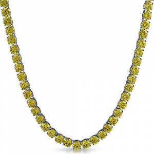 HipHopBling Canary Yellow 6MM CZ Stainless Steel Tennis Chain (20 in)
