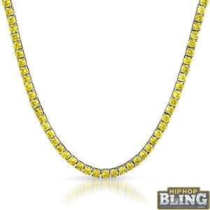 HipHopBling Canary Yellow 4MM CZ Stainless Steel Tennis Chain