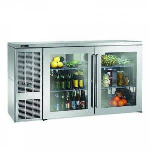 "Perlick ""Perlick BBS60GS-S-4 60"""" Bar Refrigerator - 2 Swinging Glass Doors, Stainless, 115v"""
