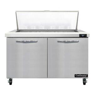 "Continental ""Continental SW48N18M 48"""" Sandwich/Salad Prep Table w/ Refrigerated Base, 115v"""