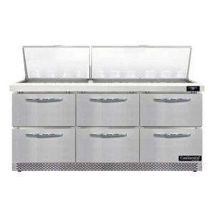 "Continental ""Continental SW72N30M-FB-D 72"""" Sandwich/Salad Prep Table w/ Refrigerated Base, 115v"""