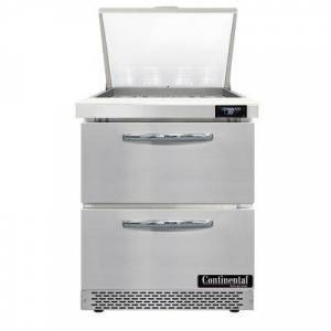 "Continental ""Continental SW27N12M-FB-D 27 1/2"""" Sandwich/Salad Prep Table w/ Refrigerated Base, 115v"""