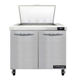 "Continental ""Continental SW36N12M 36"""" Sandwich/Salad Prep Table w/ Refrigerated Base, 115v"""