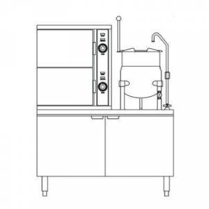 Crown Steam GCX-10-6 (10) Pan / (1) Kettle Convection Steamer - Cabinet, Liquid Propane