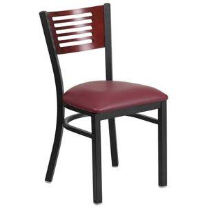 Flash Furniture XU-DG-6G5B-MAH-BURV-GG Restaurant Chair w/ Mahogany Wood Back & Burgundy Vinyl Seat - Steel Frame, Black