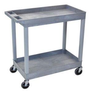 Luxor Furniture Luxor EC11-G 2-Level Polymer Utility Cart w/ 400-lb Capacity, Raised Ledges