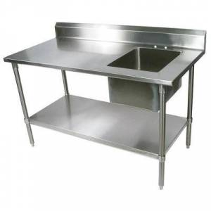 "John Boos ""John Boos EPT8R5-3060SSK-R 60"""" Work Table w/ (1) Right Sink Bowl, Stainless"""