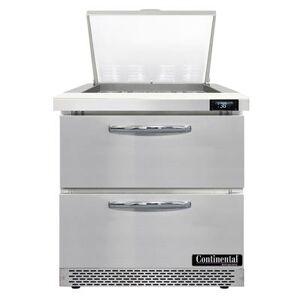"Continental ""Continental SW32N12M-FB-D 32"""" Sandwich/Salad Prep Table w/ Refrigerated Base, 115v"""