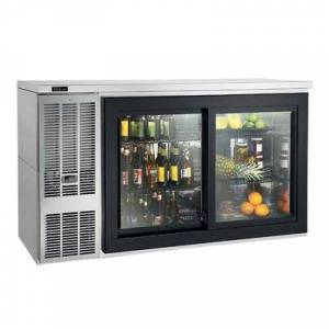 "Perlick ""Perlick SDBS60 60"""" Bar Refrigerator - 2 Sliding Glass Doors, Stainless, 120v"""