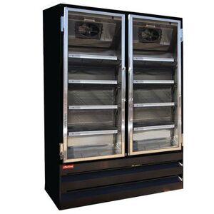 "Howard McCray ""Howard McCray GF42BM-B-FF-LED 52 1/4"""" Two Section Display Freezer w/ Swing Doors - Bottom Mount Compressor, Black, 115v"""