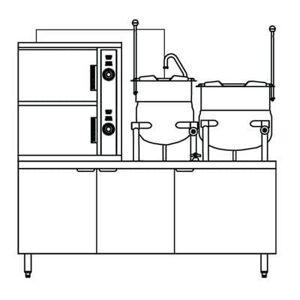 Crown Steam GCX-2-6-10 (6) Pan / (2) Kettle Convection Steamer - Cabinet, Liquid Propane