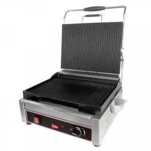Cecilware Pro SG1LG Single Commercial Panini Press w/ Cast Iron Grooved Plates, 120v