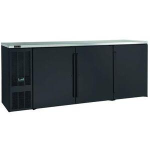 """Perlick """"Perlick BBS84B-S-4 84"""""""" Bar Refrigerator - 3 Swinging Solid Doors, Black, 120v"""""""