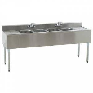 """Eagle Group B6C-4-18 72"""""""" Underbar Sink Unit w/ (4) Compartments, 12 1/2"""""""" Left & Right Drainboards"""""""