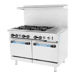"Turbo Air ""Turbo Air TARG-6B12G 48"""" 6 Burner Gas Range w/ Griddle & (2) Space Saver Oven, Natural Gas"""