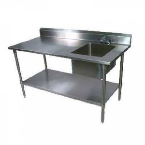 "John Boos ""John Boos EPT6R5-3072GSK-R 72"""" Prep Table w/ Right-Side Sink & Deck Mount Faucet, Galvanized Undershelf"""