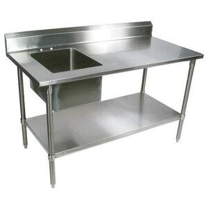 "John Boos ""John Boos EPT8R5-3060GSK-L 60"""" Work Table w/ (1) Left Bowl, Galvanized Legs"""