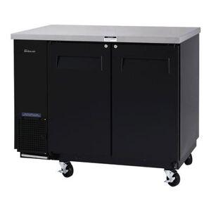 "Turbo Air ""Turbo Air TBB-24-48SB-N6 49"""" Bar Refrigerator - 2 Swinging Solid Doors, Black, 115v"""
