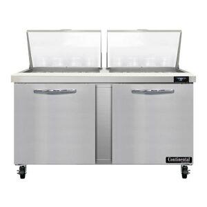 "Continental ""Continental SW60N24M 60"""" Sandwich/Salad Prep Table w/ Refrigerated Base, 115v"""