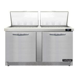 "Continental ""Continental SW60N24M-FB 60"""" Sandwich/Salad Prep Table w/ Refrigerated Base, 115v"""