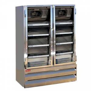 """Howard McCray """"Howard McCray GF42BM-S-FF-LED 52 1/4"""""""" Two Section Display Freezer w/ Swing Doors - Bottom Mount Compressor, Stainless, 115v"""""""