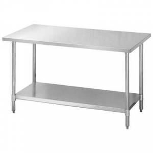 "Turbo Air ""Turbo Air TSW-3072E 72"""" 18 ga Work Table w/ Undershelf & 430 Series Stainless Flat Top"""