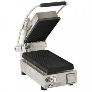 Star PGT7I Single Commercial Panini Press w/ Cast Iron Grooved Plates, 120v