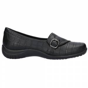 Easy Street Cinnamon Croc Slip On Flats  - Black - Women - Size: 7 B