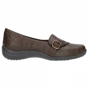Easy Street Cinnamon Croc Slip On Flats  - Brown - Women - Size: 6.5 2E