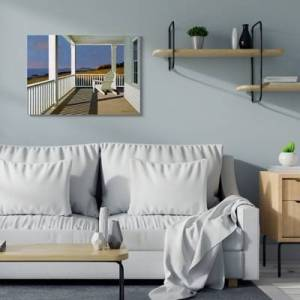 Ashley Furniture Cottage Porch Scene at Sunset 30x40 Canvas Wall Art, Blue